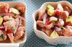 Receita de Ceviche de salmão com disquinhos de tapioca em receitas de peixes, veja essa e outras receitas aqui!