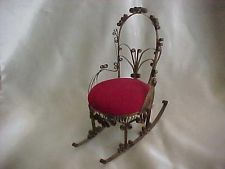 "Vintage Handmade Victorian Rocking Chair Tin Can Folk Art Pin Cushion 6 3/4""   $8.50"