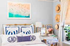 After spending three years in her NYC apartment, Lauren Nelson decided it was time for a total revamp of her bedroom. City Bedroom, Bedroom Decor, Bedroom Ideas, Master Bedroom, Bedroom Storage For Small Rooms, Blogger Home, Blue Paint Colors, Small Room Design, Bedding Basics