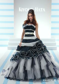 Black and white evening gown