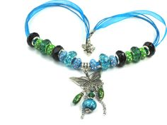 Blue Butterfly Necklace, Blue & Green Crystal Beads by Chris of  PurseCharming7, $14.00