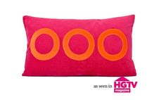 Fuchsia and Orange Circle Pillow Cover by ThereseMarieDesigns