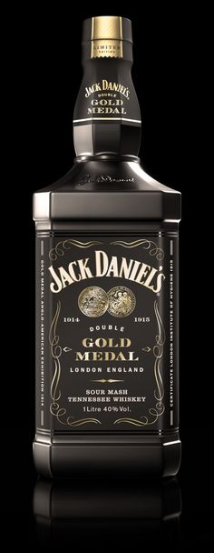 WHAAATTT?! AWESOMNESS... Jack Daniel's Double Gold Medal Limited Edition -  a specially packaged bottle sold exclusively at London's Heathrow, Gatwick and Stansted airports. The matte black bottle also includes iconic Old No.7 packaging, two commemorative glass tumblers, as well as black and gold gift box.