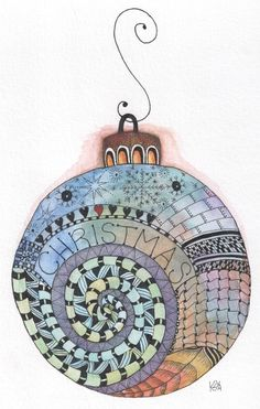 Watercolor/ zentangle ornament