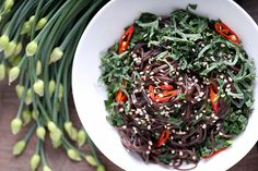 Olives for Dinner | Black Rice Noodles with Kale, Mint and Basil by Jeff and Erin's pics, via Flickr