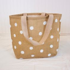 Set of Bag for Tricia - Polka Dot Burlap Tote Bag - White
