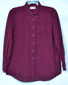 FIELDMASTER Men's Cranberry Pinwale Corduroy Shirt Large Long Sleeves Unlined #Fieldmaster #ButtonFront