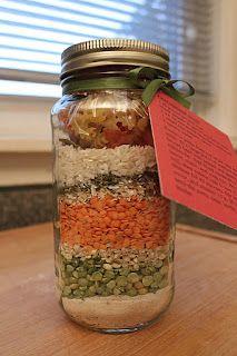 Dry soup ingredients in jar as gift.