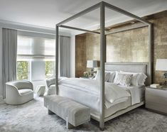John B. Murray Architect, LLC - Master bedroom with a metallic finish