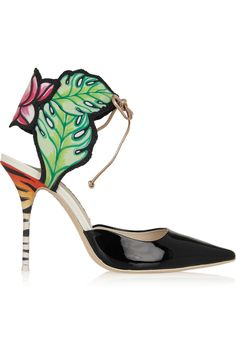 SOPHIA WEBSTER Rousseau Jungle Printed Satin And Patent-Leather Sandals. #sophiawebster #shoes #sandals