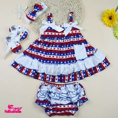 star and stripe National Day baby clothing set ruffle summer swing top 4pcs baby girls clothes set feike 252