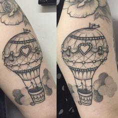 Fresh WTFDotworkTattoo Find Fresh from the Web Pretty hot air balloon done a few weeks back this is healed! #hotairballoon #tattoo #dotwork sammywatcher WTFDotWorkTattoo