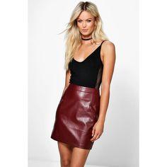 Boohoo Night Iman A Line Leather Look Mini Skirt (£20) ❤ liked on Polyvore featuring skirts, mini skirts, berry, short mini skirts, mini skirt, faux leather skirt, a line midi skirt and vegan leather mini skirt
