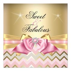 Sweet and Fabulous Pink Gold Chevron Birthday 2