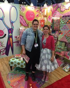 """One of my favorite people ever! @SewSweetness rocking a #TulaPinkFreeFall (108"""" wide quilt backing fabric) used for garment sewing!!! • #TulaPink #QuiltMarket #SewSweetness"""