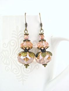 Handmade peach glass earrings with antiqued filigree. Fabulous! #etsy #jewelry #earrings #handmade #lbtoyos $12.90 @Lb Toyos by Jersica