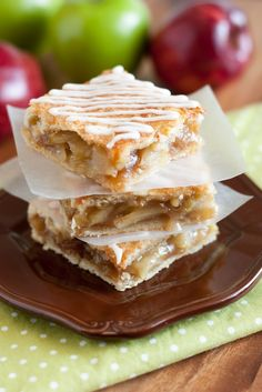 Cooking Classy: Apple Pie Bars - hand hold-able apple pie with vanilla glaze. LOVE these! ~ Perfect for all the Fall Holidays