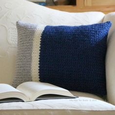 """The """"Main Line Pillows"""" knitting pattern is simple and easy! These patterns will look fantastic with any color combination! Find this pattern at LoveKnitting."""