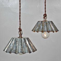 Brioche Tin Pendant Light - Barn Aged Patina (LG) - Rustic Modern Vintage…