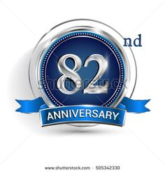 Celebrating 82nd anniversary logo, with silver ring and blue ribbon isolated on white background.