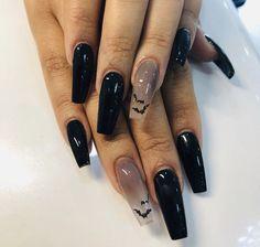 Holloween Nails, Cute Halloween Nails, Halloween Acrylic Nails, Black Acrylic Nails, Best Acrylic Nails, Cute Acrylic Nail Designs, Black Coffin Nails, Girl Halloween, Halloween Nail Designs