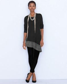 Add shimmer without going over the top with our Eileen Fisher Sparkle Hem Tunic and Eileen Fisher Velvet Leggings.