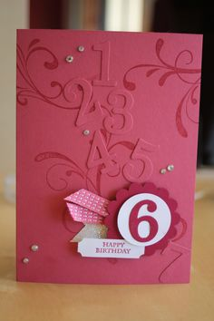 Birthday card for 6yr old girl made using Stampin up products
