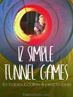 Simple Tunnel Play Activities for babies, toddlers and preschoolers. Promote baby milestones, social skills, sibling play, sensory processing and more! CanDo Kiddo Tap the link to check out fidgets and sensory toys! Sensory Activities, Infant Activities, Preschool Activities, Indoor Activities, Toddler Gross Motor Activities, Physical Activities For Preschoolers, Baby Sensory, Winter Activities, Therapy Activities