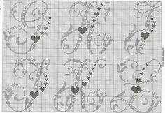Olá, minhas lindas!!!  Vamos começar a semana bem românticas???  Que tal esses gráficos de alfabetos??  Bjss