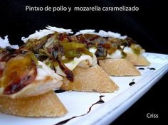 mozzarella and caramelized onions Tapas Bar, Sandwiches For Lunch, Portuguese Recipes, Portuguese Food, Le Chef, Tostadas, Other Recipes, Food Design, Finger Foods