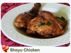 5 pounds chicken thighs 1½ cups sugar 1 cup shoyu ½ cup ketchup 1 tablespoon mirin 1 piece ginger, crushed