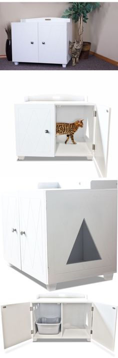 Litter Boxes 100411: Furhaven White Bench Hidden Kitty Litter Box Enclosure BUY IT NOW ONLY: $113.99