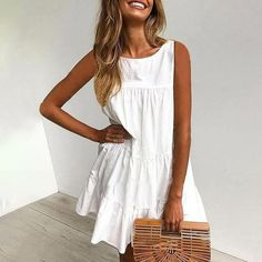 White Round Neck Sleeveless Loose Pleated Dress – oaclay All White Party, I Dress, New Fashion, Lounge Wear, Beautiful Dresses, White Dress, Dressing, Cute Outfits, Couture
