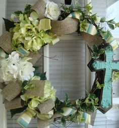 Spring Wreath With Cross - Click for More...