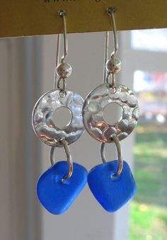 Dangly Cobalt Blue Lake Superior Beach Glass by beachglass46