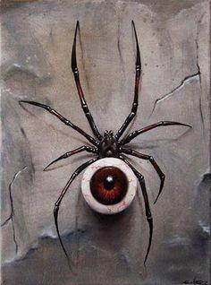 Eyeball spider charm