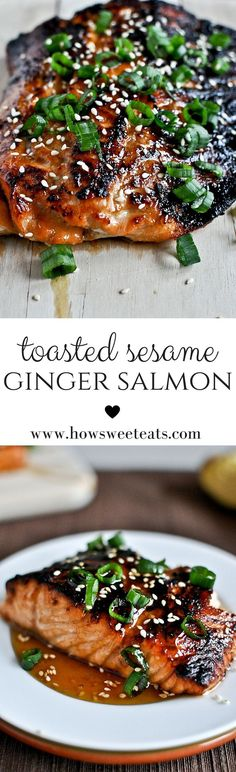 4 Points About Vintage And Standard Elizabethan Cooking Recipes! Toasted Sesame Ginger Salmon By Howsweeteats I Fish Dishes, Seafood Dishes, Seafood Recipes, Dinner Recipes, Easy Fish Recipes, Healthy Recipes, Cooking Recipes, Free Recipes, Sushi Recipes