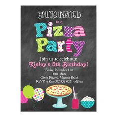 Chalkboard Pizza Party Invitation (Girl's)