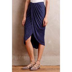 Dolan Maleo Draped Skirt (€87) ❤ liked on Polyvore featuring skirts, navy, navy blue skirt, navy skirt, dolan, draped skirt y pull on skirt