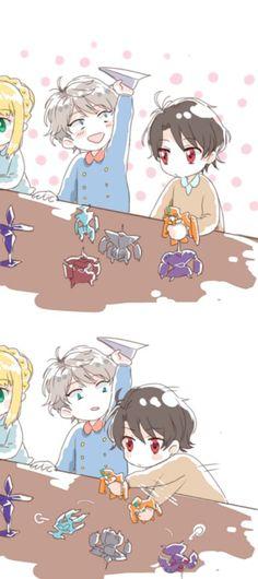 【 Aldnoah.Zero • アルドノア•ゼロ 】 Slaine, Troyard, Kaizuka, Inaho, kids, cute