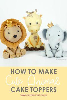 Fondant Elephant Tutorial, Fondant Animals Tutorial, Fondant Giraffe, Giraffe Cakes, Fondant Tutorial, Fondant Cake Designs, Fondant Cake Toppers, Fondant Icing, Baby Elephant Cake