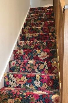 Floral heaven on these stairs with our Quirky B Liberty Fabrics Flowers of Thorpe vibrant carpet. Supplied & installed by Vale Furnishings.