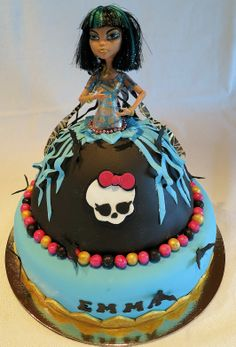 - A Monster High Cake in sugarpaste. The doll it´s real and wrapped with plasticfilm.