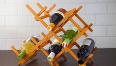 DIY painted countertop wine rack to display your wine bottles