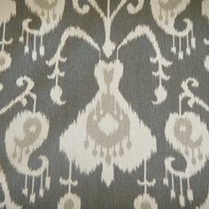 java pewter ikat drapery fabric | $8.95 per yard