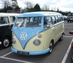 blue and cream vwbus ☆ pinned by http://www.waterfront-properties.com/