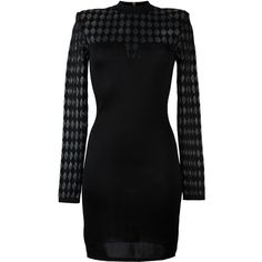 Balmain longsleeved knit dress (2,455 CAD) ❤ liked on Polyvore featuring dresses, black, bodycon dress, long sleeve short dress, knit dress, long sleeve knit dress and short bodycon dresses