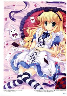 Here is a cute Alice in Wonderland anime girl. She looks really pretty.