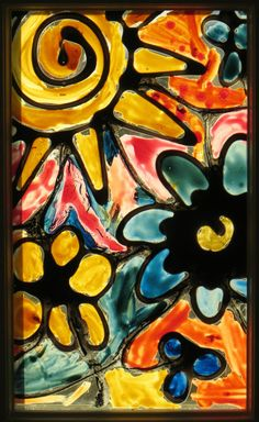 faux stained glass for kids- mixing ACRYLIC paint with glue for leading and painting