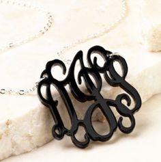 Monogram Acrylic Necklace by TeeShirtPrinting on Etsy